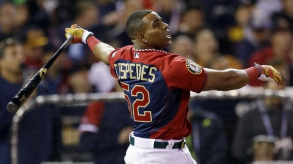 Yoenis Cespedes became just the 2nd player to win back to back titles in the M:B HR Derby Last Night.  By winning his 2nd title, he also joins Prince Fielder and the aforementioned Griffey, as the only three guys to win multiple titles.  At just age 28, and with that swing, you have to think he has a chance to eclipse everyone and take down a few more of these HR Derby Trophy's.
